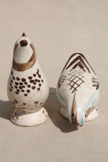 Vintage Red Wing bobwhite quail birds, large bird and S&P shakers set