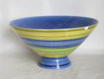 Vintage Red Wing pottery bowl, striped blue & green, mod flared shape