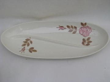 Vintage Red Wing pottery dinnerware, pink rose pattern divided relish dish