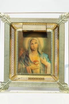 vintage religious picture, 50s 60s lenticular 3-D hologram Mary / Jesus, lighted frame shrine
