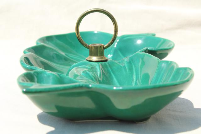 vintage relish tray w/ handle, mid-century mod ceramic divided dish, jungle green tropical leaf bowl