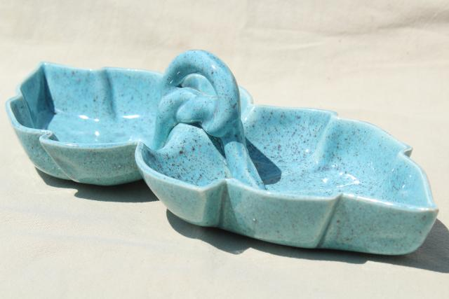 vintage relish tray w/ handle, mid-century mod ceramic divided dish, tropical leaf bowl in aqua