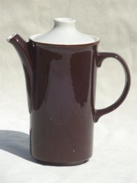 Vintage restaurantware coffee pot, brown & white USA stoneware pottery