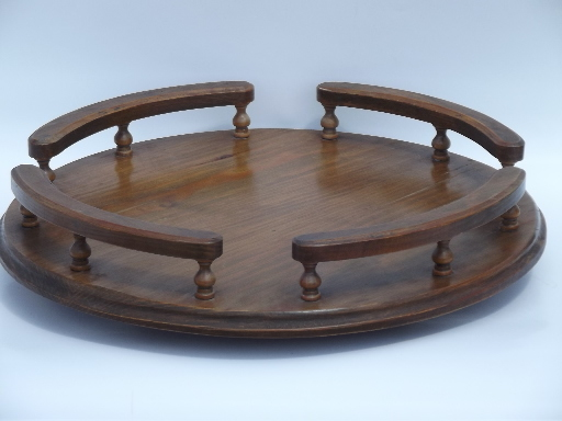 Vintage Retro Wood Lazy Susan Turntable Serving Tray W/ Gallery Rail Rim