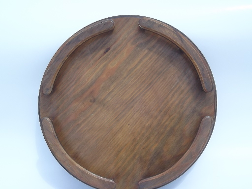 Vintage Retro Wood Lazy Susan Turntable Serving Tray W