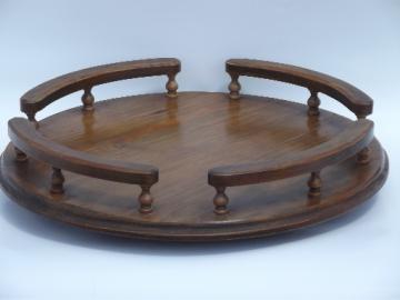 Vintage retro wood lazy susan turntable serving tray w/ gallery rail rim