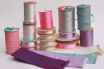 vintage ribbon lot, pastel gift wrap ribbons for garlands, party streamers?