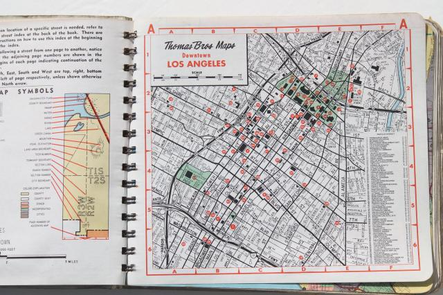 road maps street atlas map books for Los Angeles 1960s 70s 80s
