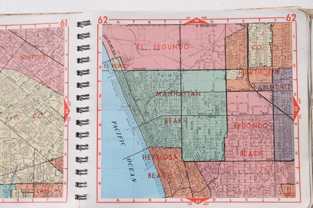 vintage road maps, street atlas map books for Los Angeles ... on