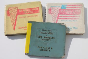 vintage road maps, street atlas map books for Los Angeles 1960s, 70s 80s