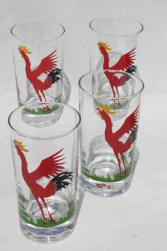 Vintage rooster print drinking glasses, mid-century mod highball glasses tall tumblers
