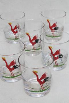 Vintage rooster print drinking glasses, mid-century mod low ball old fashioned glasses