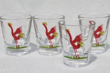 Vintage rooster print shot glasses, mid-century mod bar glasses set