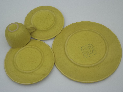 vintage royal stone stoneware dishes set in retro 60s 70s yellow gold - Stoneware Dishes