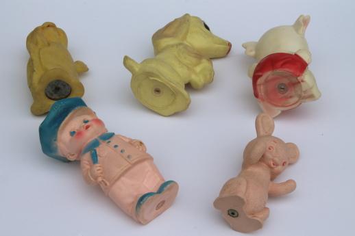 Vintage Rubber Dolls Plastic Squeak Toys 50s 60s Baby