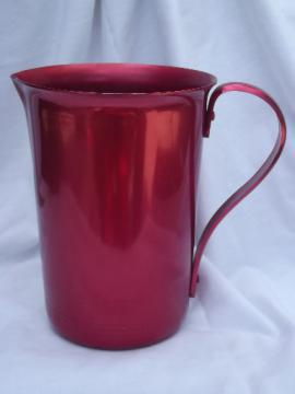 Vintage ruby red  anodized color pitcher, mid-century spun aluminum