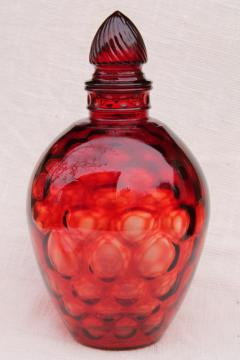 vintage ruby red dot coin spot glass wine jar, mid-century mod bottle w/ stopper