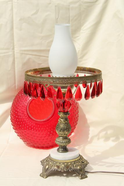 Vintage Ruby Red Glass Hobnail Shade Table Lamp W Lucite