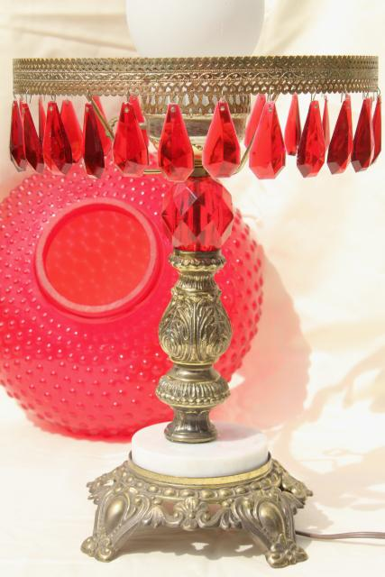vintage ruby red glass hobnail shade table lamp w/ lucite plastic prisms