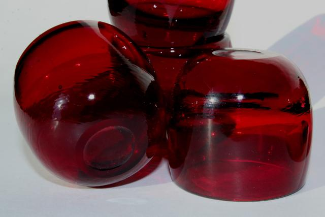 vintage ruby red glass salt dip dishes or shot glasses, tiny deco moderne bowls