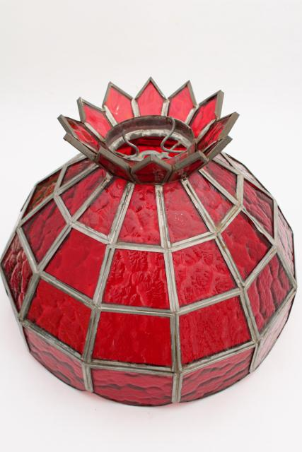 vintage ruby red leaded glass shade, pendant light or lampshade for game room or bar