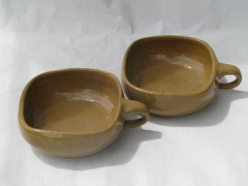 Vintage rustic pottery bowls w/ mod squared shape, gold ochre color