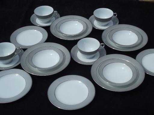 Vintage Sango Platina Platinum Grey And White China Plates And Bowls For 4