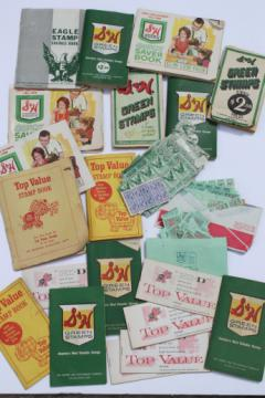 Vintage savings stamps lot, S&H Green Stamps, Top Value stamp books etc.