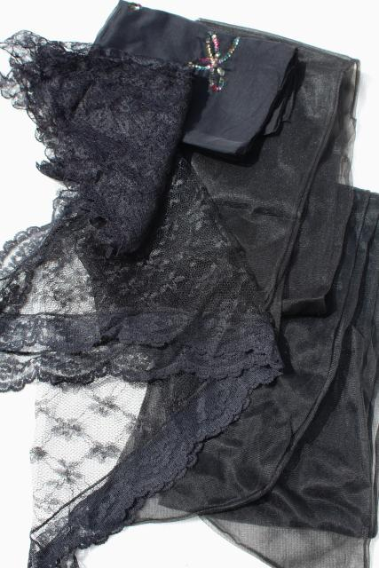 vintage scarf lot, black lace chapel veil mantilla, long sheer nylon scarves