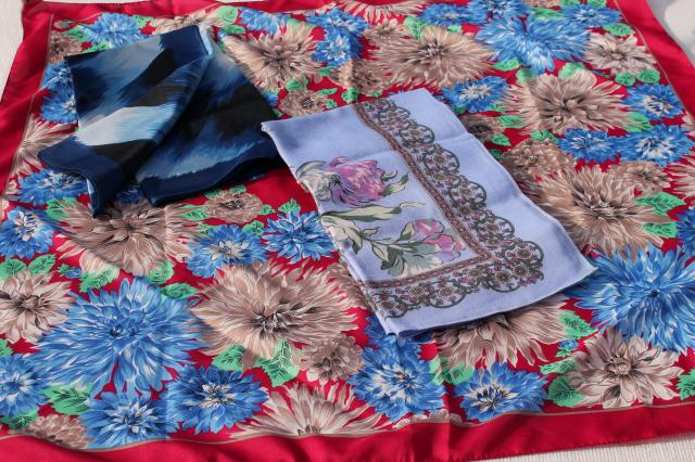 vintage scarves lot, silk & silky poly & chiffon neck scarves, ties & headscarves