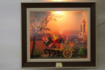Vintage scene of Sicily diorama lighted shadowbox lamp w/ Sicilian horse cart