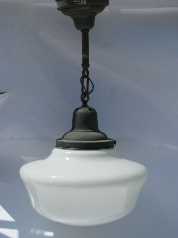 Vintage schoolhouse pendant light fixture original for Antique pendant light fixtures