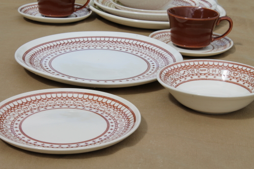 Vintage Sears Ranchero pattern dinnerware set for two with cattle brands border print - these look like mostly ... & Sears Ranchero pattern dinnerware set for two with cattle brands ...