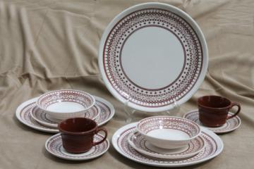 Vintage Sears Ranchero pattern dinnerware set for two, with cattle brands border print - these look like mostly zodiac symbols to us!