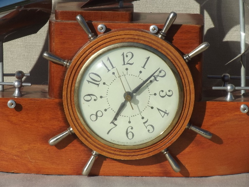 Vintage Sessions ship clock, old Yankee Clipper ship electric clock