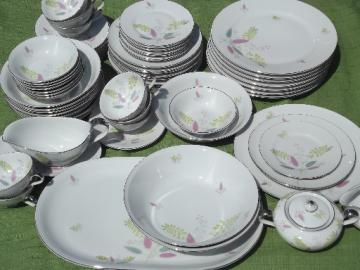 Vintage set for 8 Bavaria porcelain, pink, green yellow flowering grass