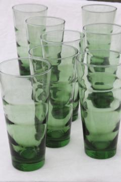 Vintage set of Libbey glasses, tall cooler size ripple optic green glass coolers