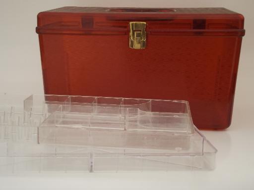Vintage sewing box retro 60s amber plastic Wilson Wil Hold storage box