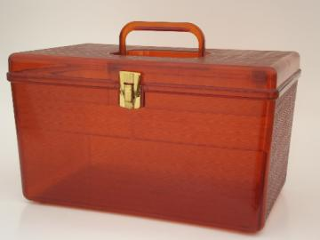Vintage sewing box, retro 60s amber plastic Wilson Wil-Hold storage box