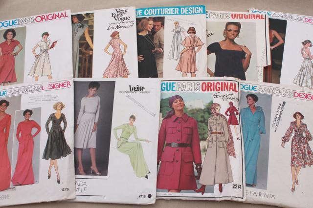 Vintage Sewing Pattern Lot 70s 80s Vogue Patterns American Designer