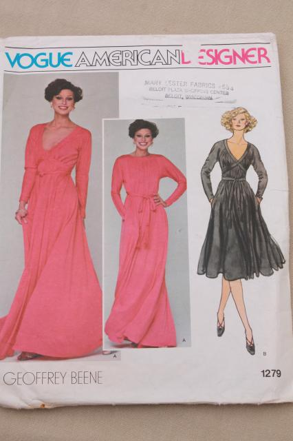 vintage sewing pattern lot, 70s 80s Vogue patterns American Designer ...