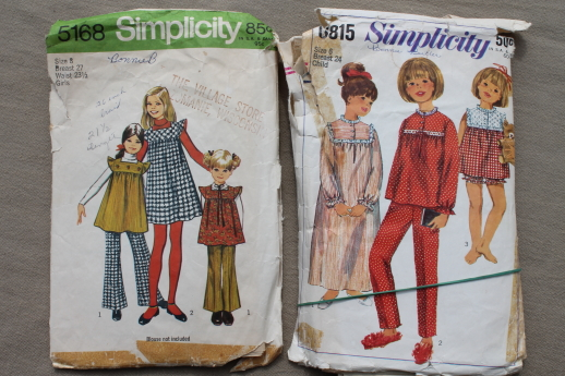 Vintage sewing patterns lot, children's & girls retro 70s pantsuits, tops etc.