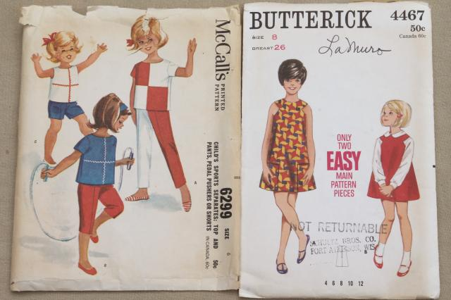 vintage sewing patterns lot, little girls dresses & play clothes girly to groovy 60s 70s retro