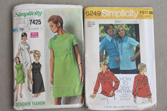 vintage sewing patterns lot, retro 70s pantsuits, mod dresses, tunics, skirts