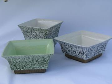 Vintage Shawnee pottery planters lot, mod squares, confetti texture glaze