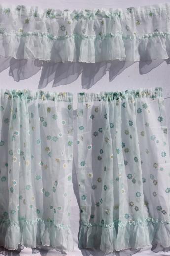 Vintage Sheer Curtains, Ruffled Sheer Nylon Curtain Panels W/ Flocked  Daisies