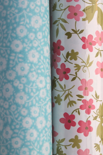 Vintage Shelf Paper Amp Contact Paper Lot In Retro Flowers