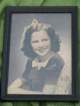 Vintage Shirley Temple colored photo print in period wood frame