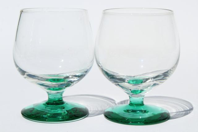 vintage shots or cordial glasses, hand blown glass snifter shape clear bowls, colored glass feet