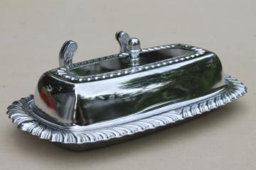 vintage silver chrome butter dish w/ glass plate, knife holder tray w / dome cover